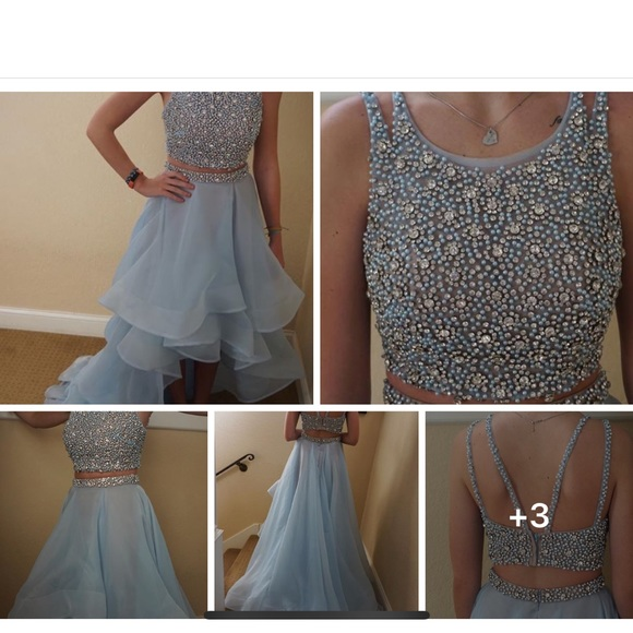 98e5e2590f26 Terani Couture Dresses   Baby Blue 2 Piece High Low Prom Dress ...